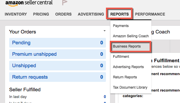 Seller Central Business Reports