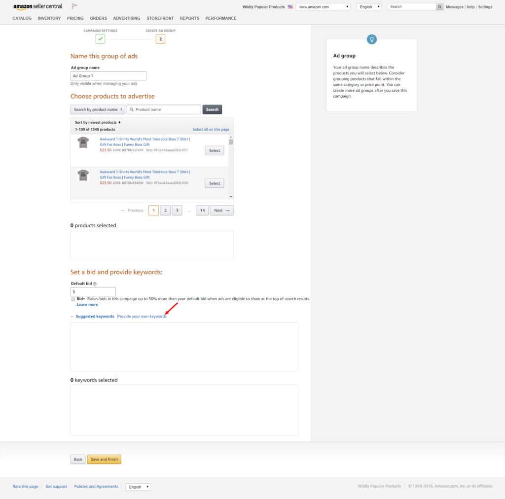 Provide Keywords for Amazon PPC Campaign